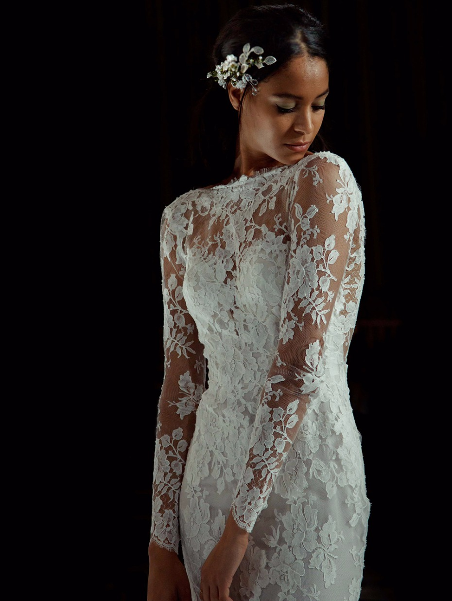 long sleeve lace wedding gown from Pronovias