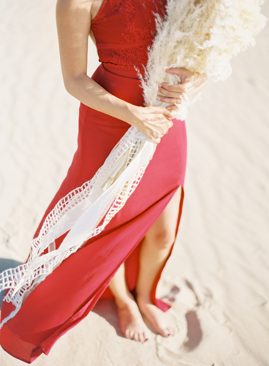 red dress for your engagement shoot