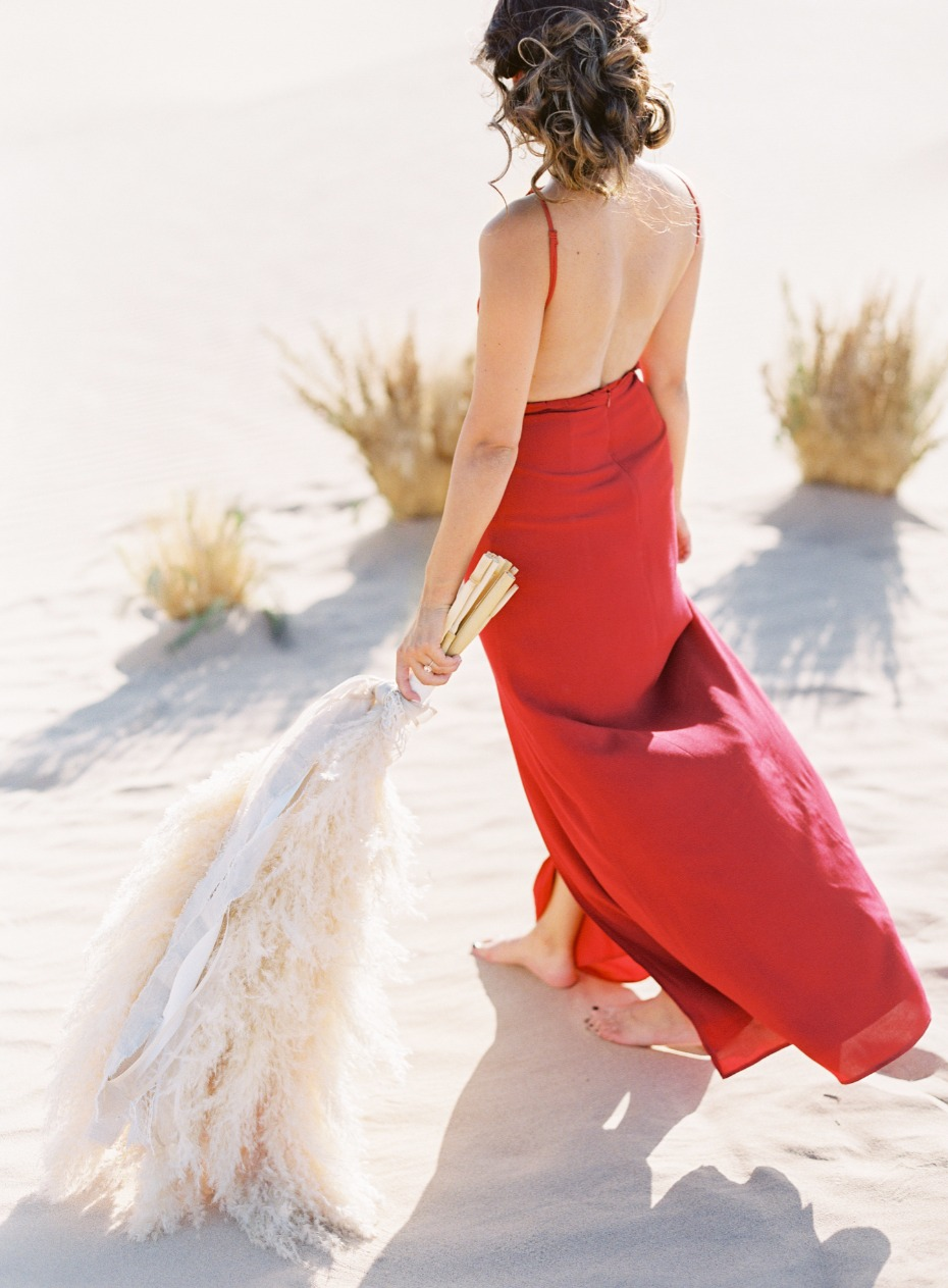 elegant red dress for your engagement shoot