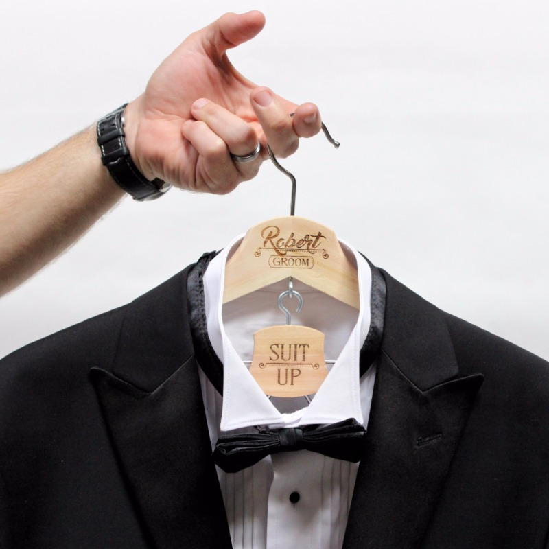 Time to suit up with our custom hangers. Not only great to hang a tux, but a perfect wedding photo prop too! Shop yours at ScissorMill