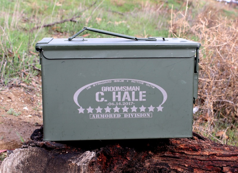 Personalized Groomsmen Gifts are the best. Give the Groom's party something useful and memorable. Ammo Cans are $35 each and won't
