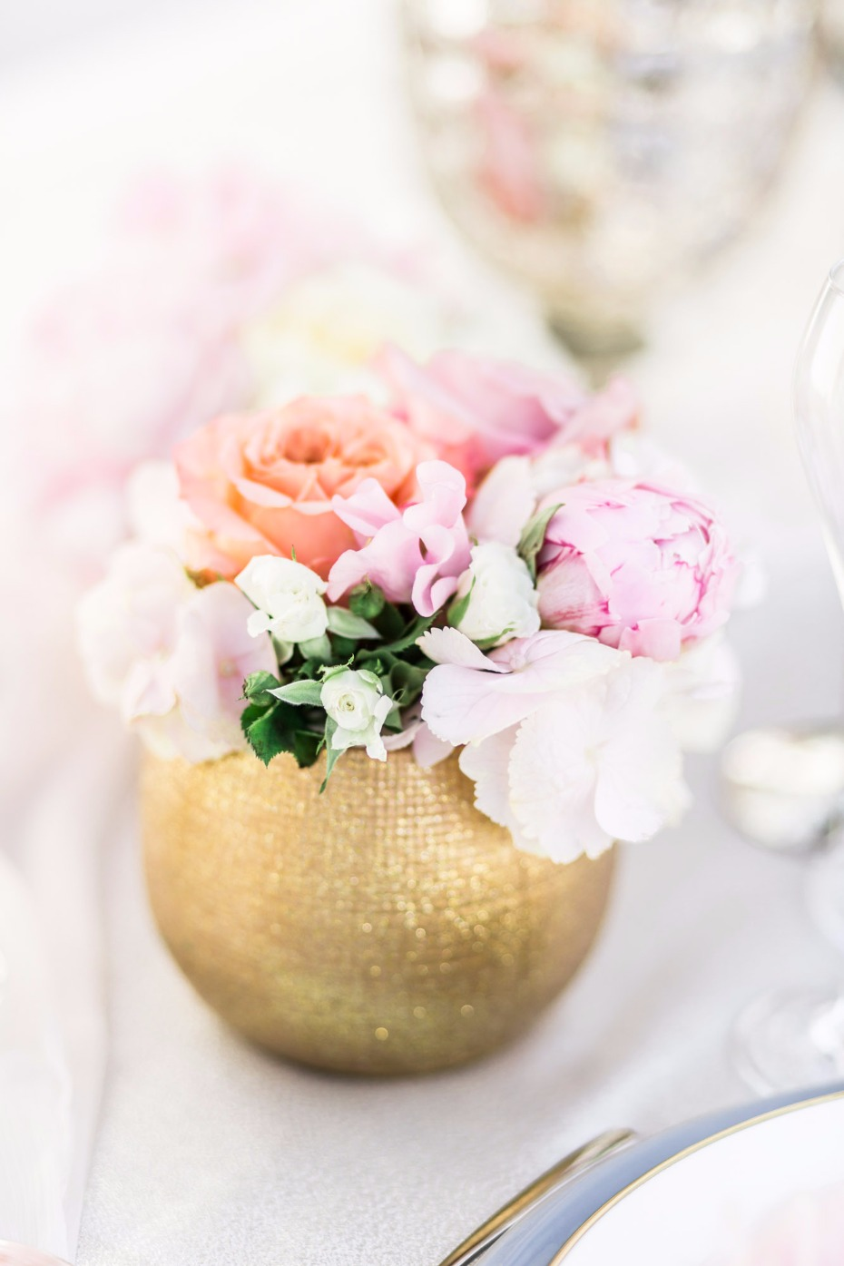 sweet mini floral arrangement in gold vase