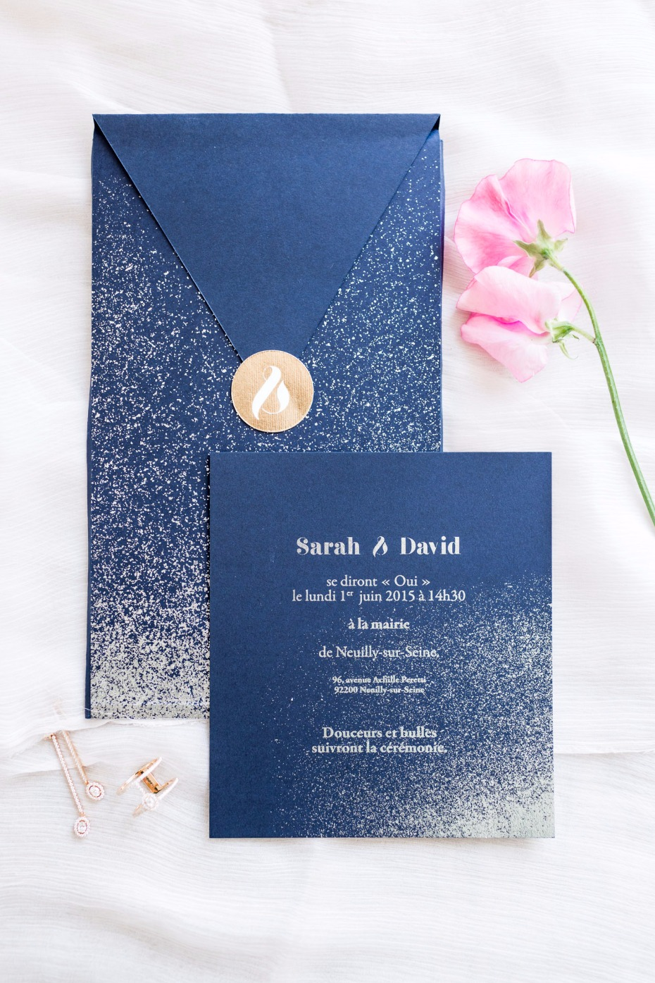 modern wedding invitation suite in blue and gold