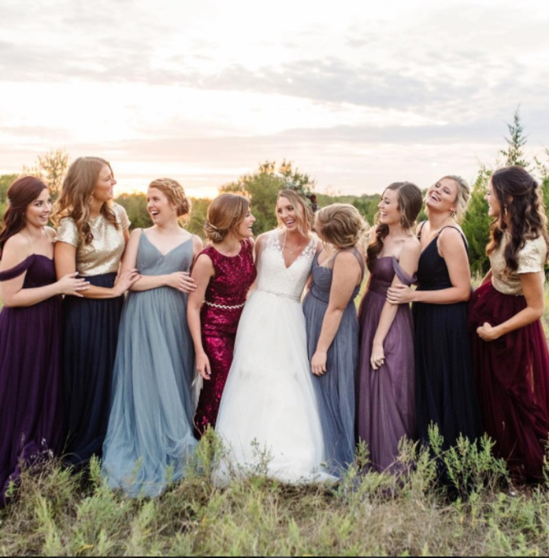 Complimentary colors for the most beautiful bridesmaids. #CrazyForFallColors #ShopRevelry