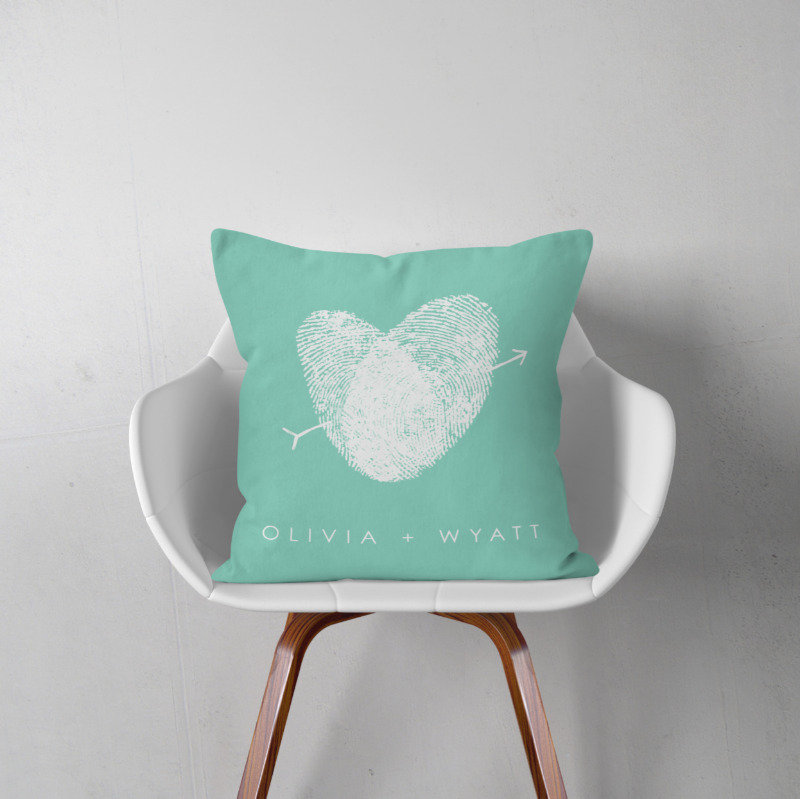 Personalize your home with a modern, romantic pillow featuring your own fingerprints. Perfect for a unique wedding or a touching anniversary