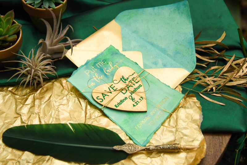 Greenery & Gold wedding Save the Date card with magnet