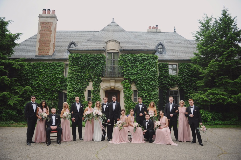 Blush bridesmaid wrap dresses from Twobird