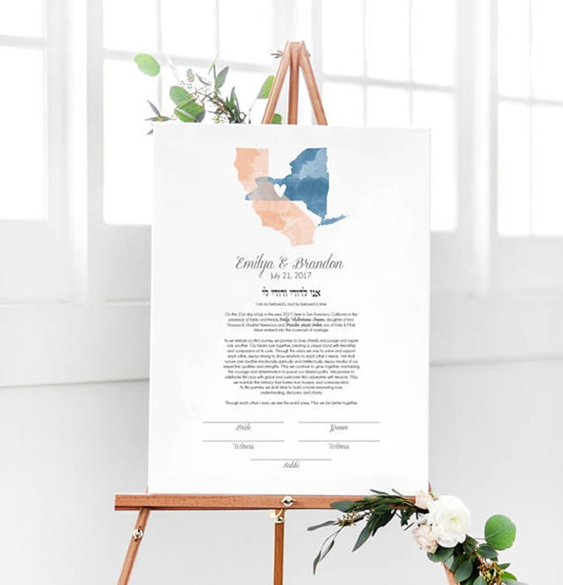Miss Design Berry's watercolor wedding Ketubah design is a unique and special way to show the journey of your love.