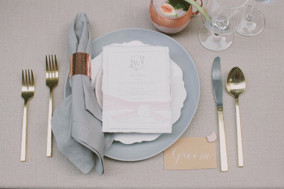grey modern chic wedding place setting