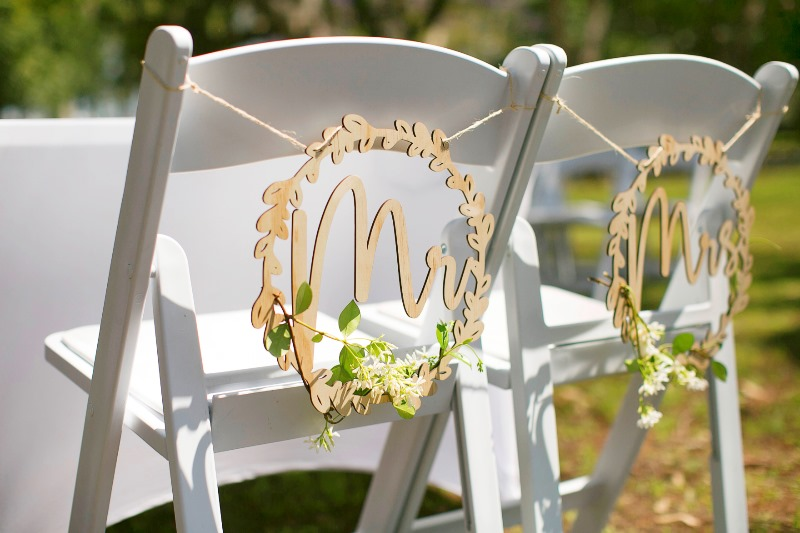 Wedding Chair Signs by https://www.brisbaneweddingdecorators.com.au/