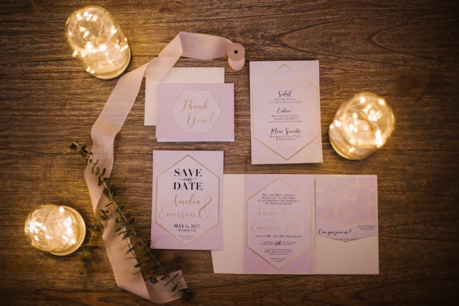 modern gold wedding invitation suite