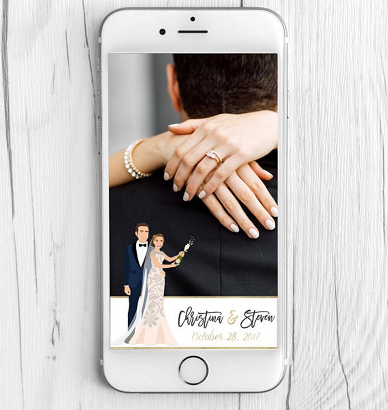 Miss Design Berry's listing is for a New Years Eve Wedding Snapchat geotag filter for your wedding or event with a custom couple portrait