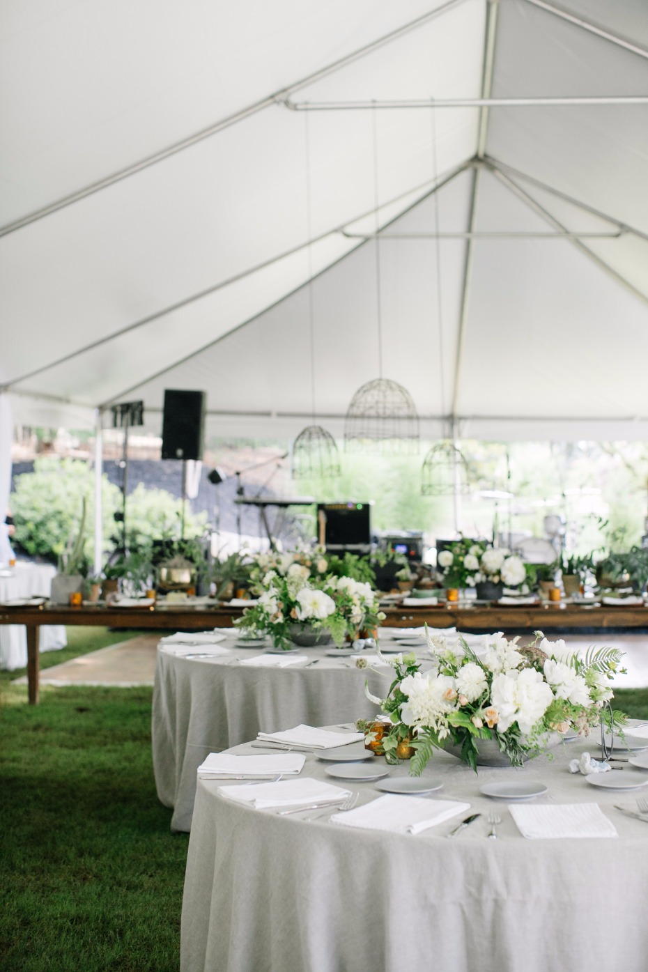 White and green boho reception