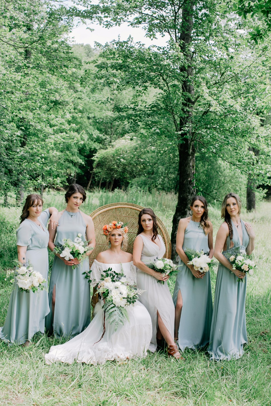 Boho bridesmaids in mint green