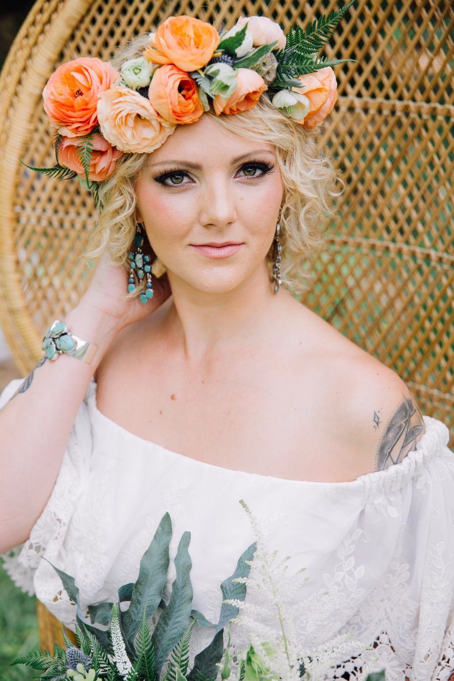 Gorgeous floral crown for the boho bride