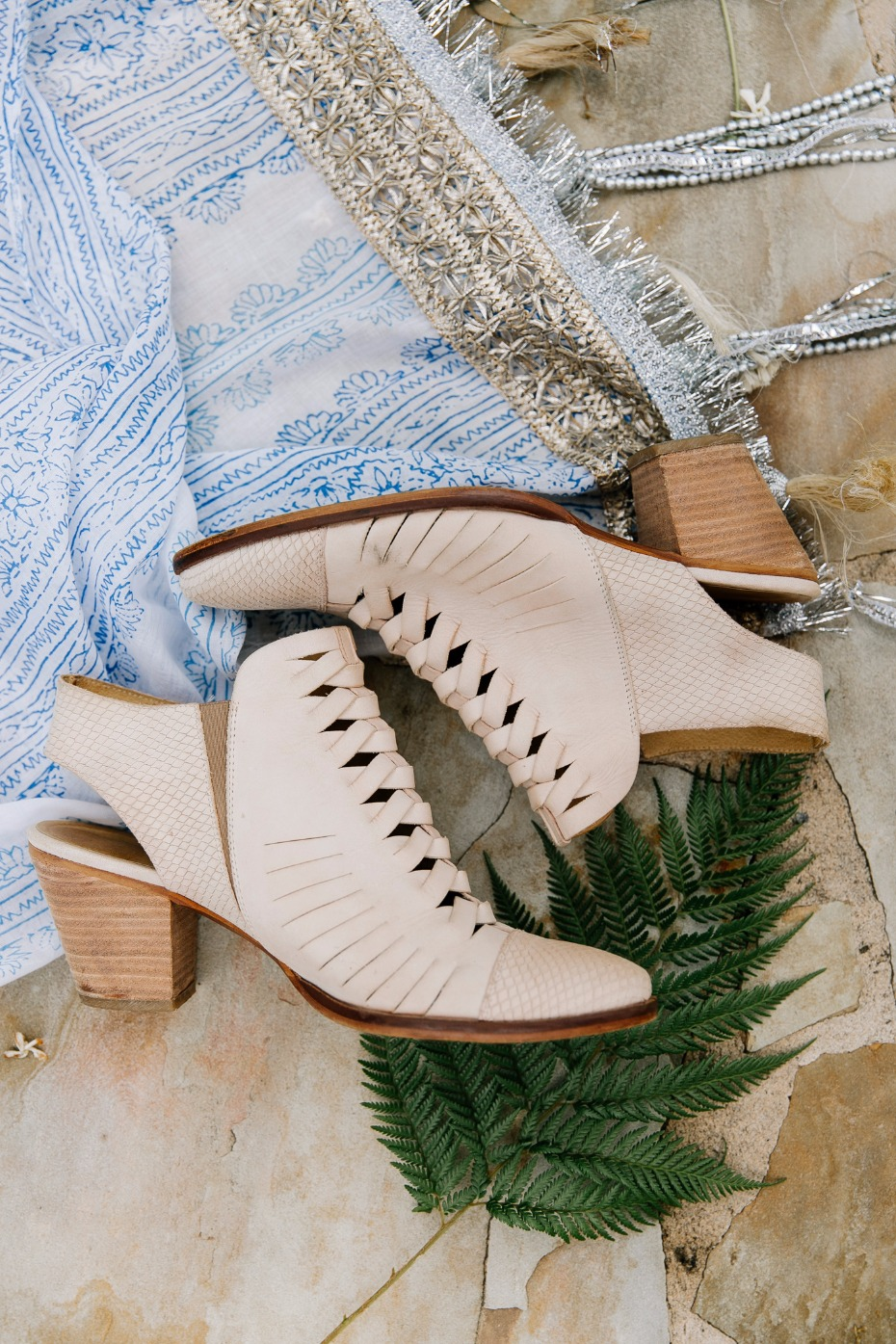 Free People blush booties for the bride