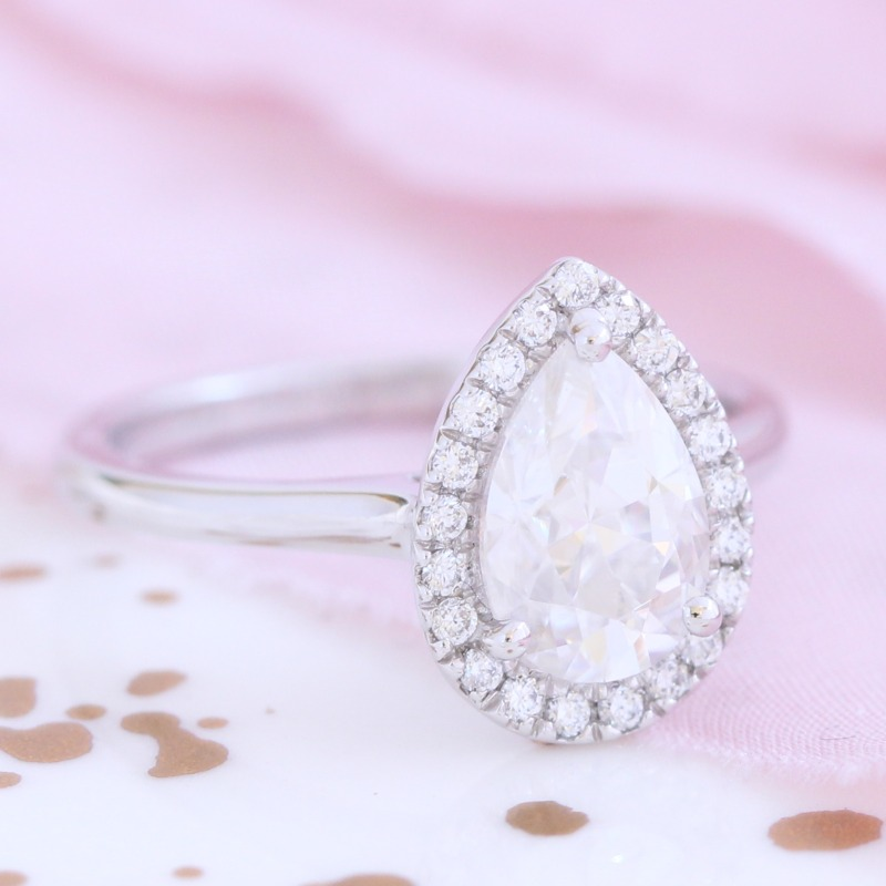Pear Moissanite Engagement Ring in Halo Diamond White Gold Band by La More Design in NYC