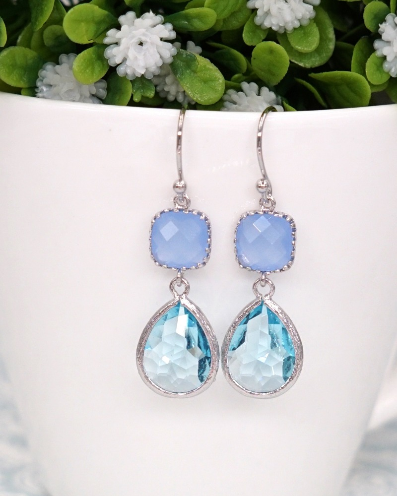 Ice Blue Aquamarine silver Earrings, brides, bridesmaids, bridal shower gifts, everyday beautiful, wedding, party night, gifts for