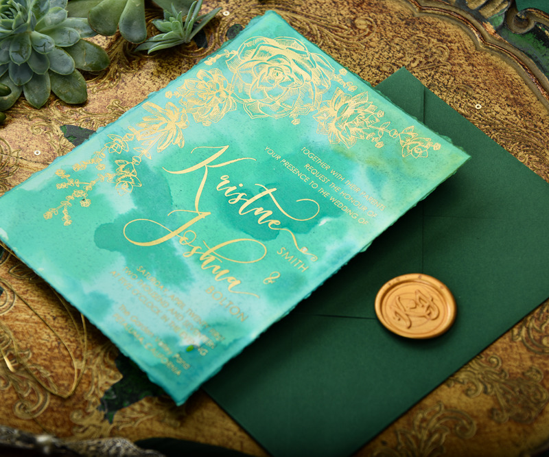 Hand-painted wedding invitation in Greenery & Gold