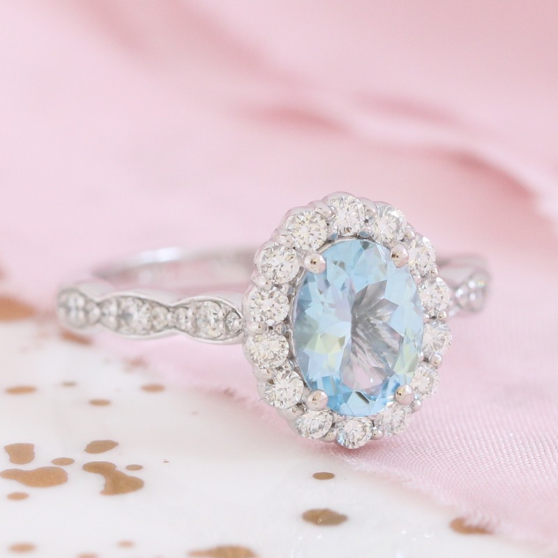 Oval Aquamarine Ring in White Gold Halo Diamond Scalloped Band by La More Design in NYC