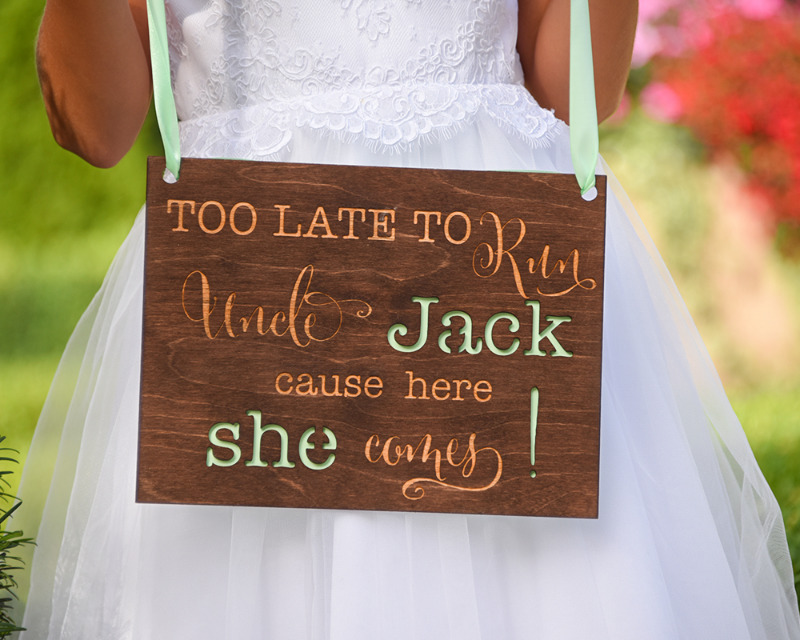 Wooden wedding ring bearer signage with touch of green