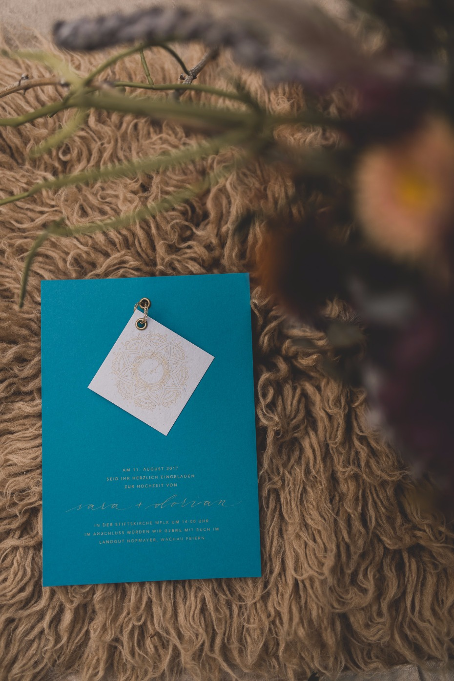 indigo and gold wedding invitation