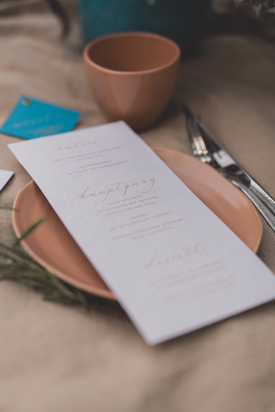 simple and chic wedding menu