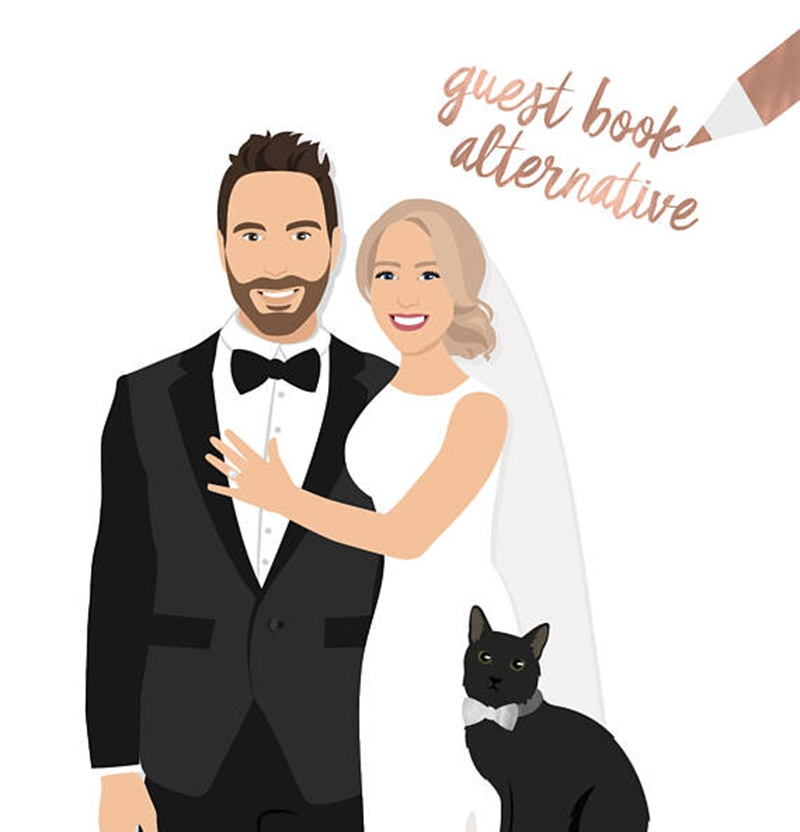 Miss Design Berry's couple portrait wedding guest book alternative goes beyond the traditional guest book. This custom work of art