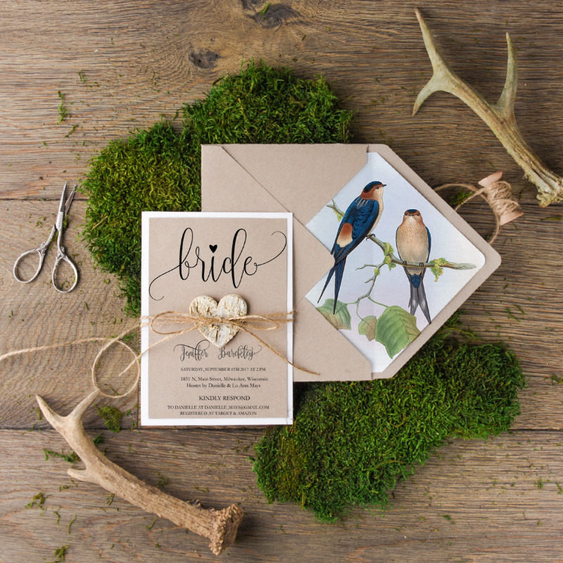 Bridal Shower invitation with lovebirds printing