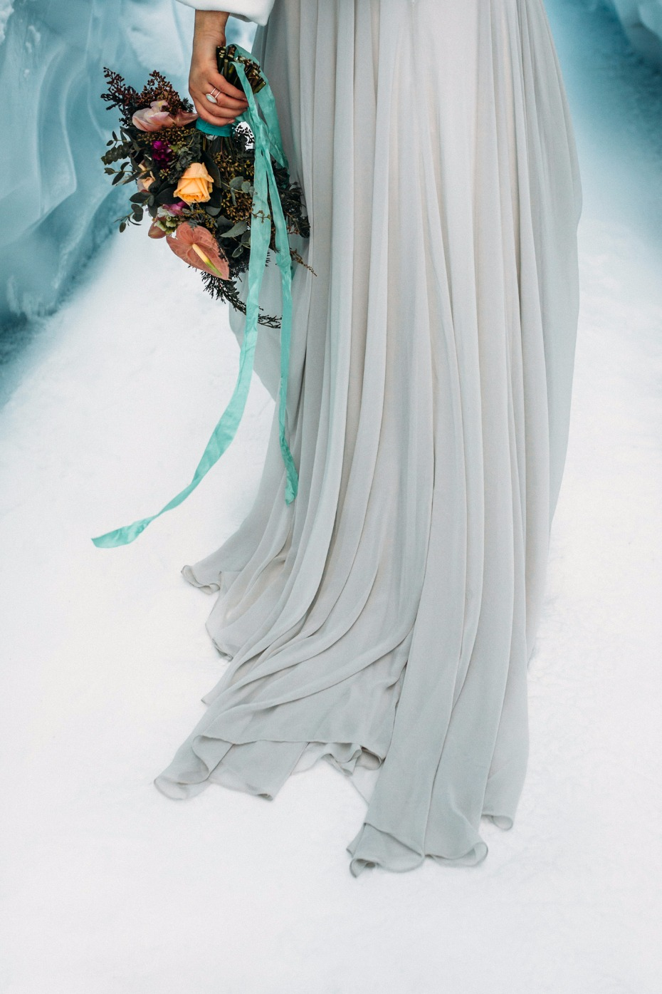 ice grey wedding dress