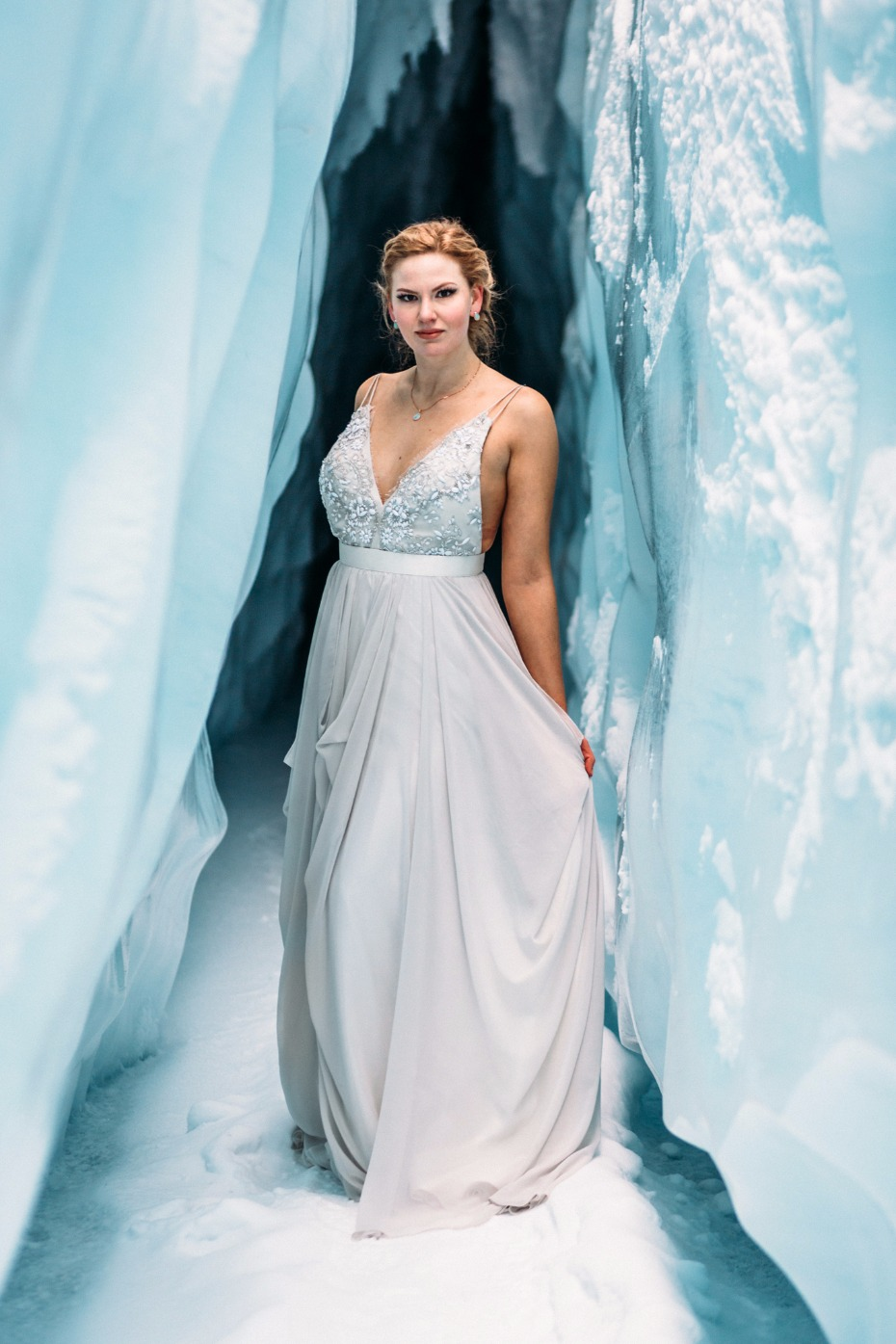 elegant icy grey wedding dress