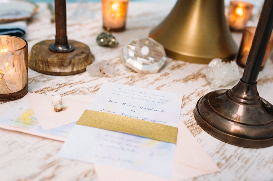 wedding stationery with gold belly band