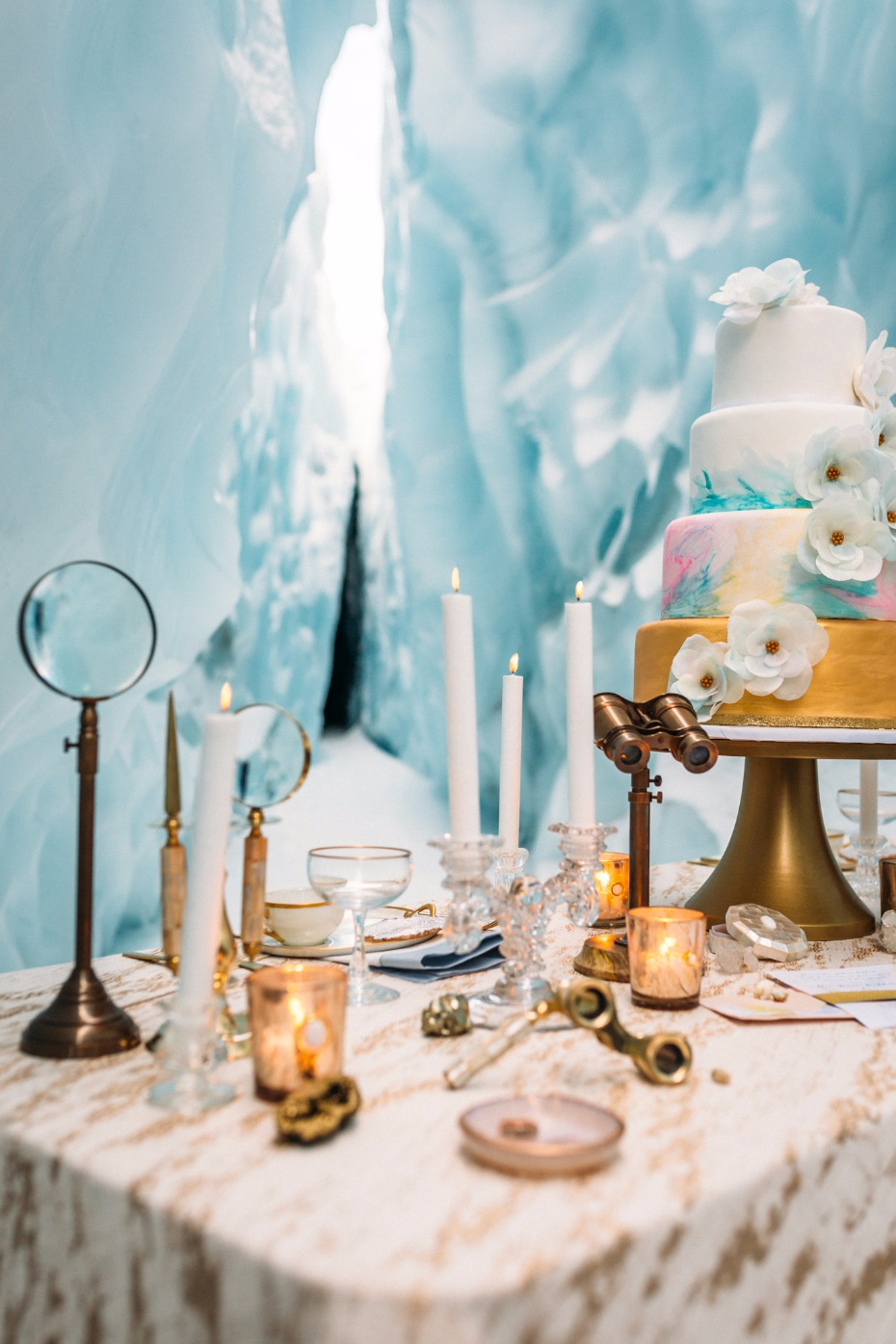 wedding cake table with vintage wedding decor