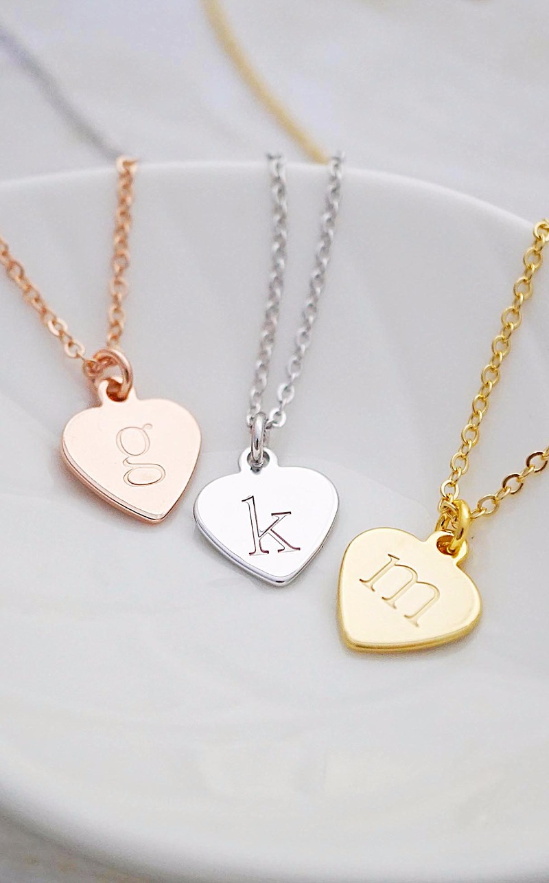 Modern hand stamped initial heart necklaces Bridesmaid gift Christmas gift ideas Minimalist style
