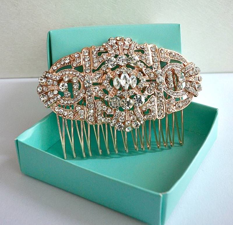 An absolutely exquisite art deco and vintage wedding style bridal hair comb perfect for that Old Hollywood Gatsby themed wedding party