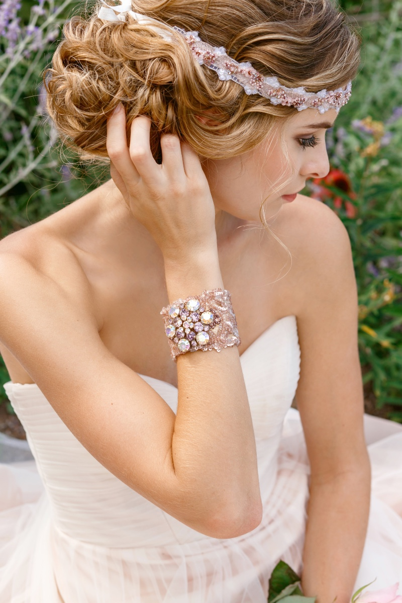 Blush color accessories are the perfect finishing touch to your wedding look.
