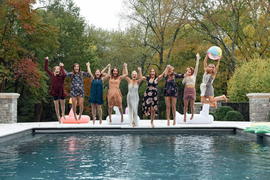 Bridal Shower pool plunge!