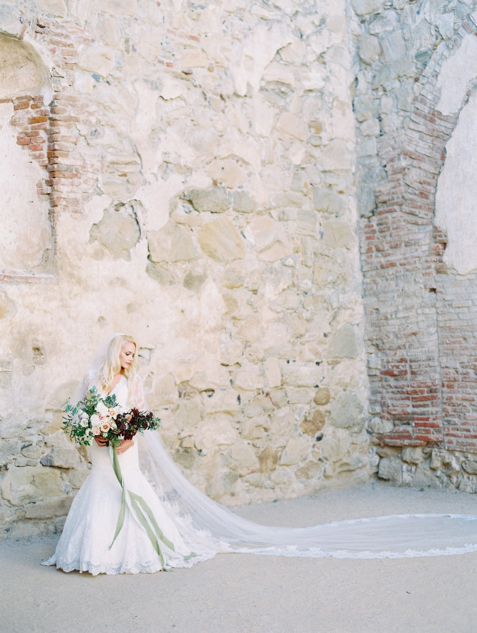 Bride in Allure Bridals style 9260 + her long veil