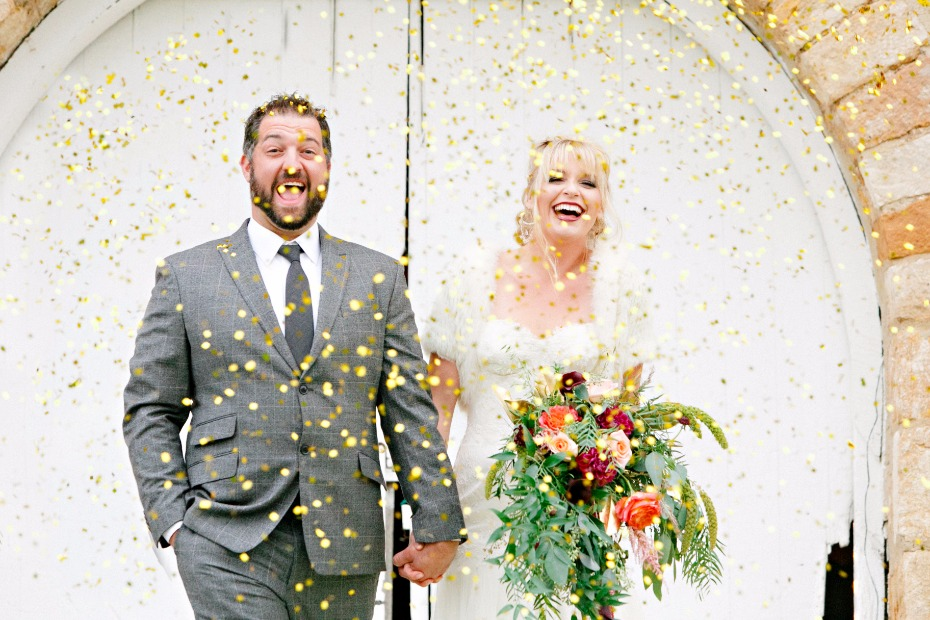 fun gold confetti bride and groom send off