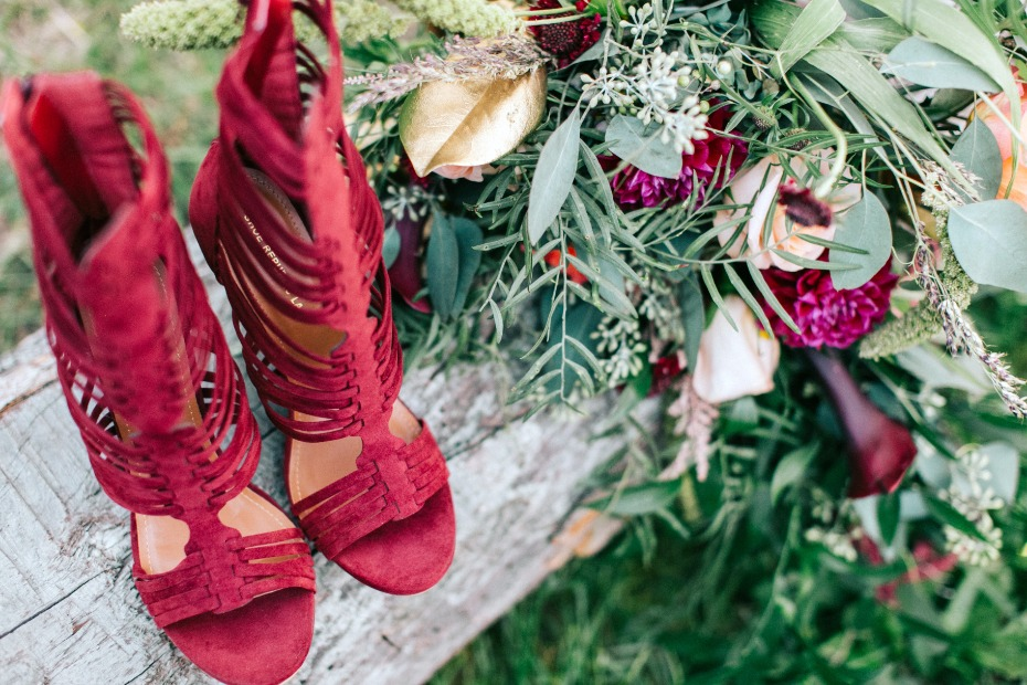 strappy wedding shoes in burgundy