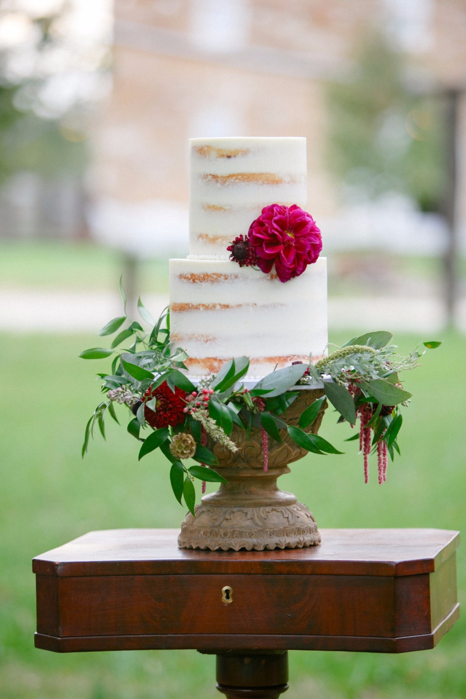 nearly naked fall themed wedding cake