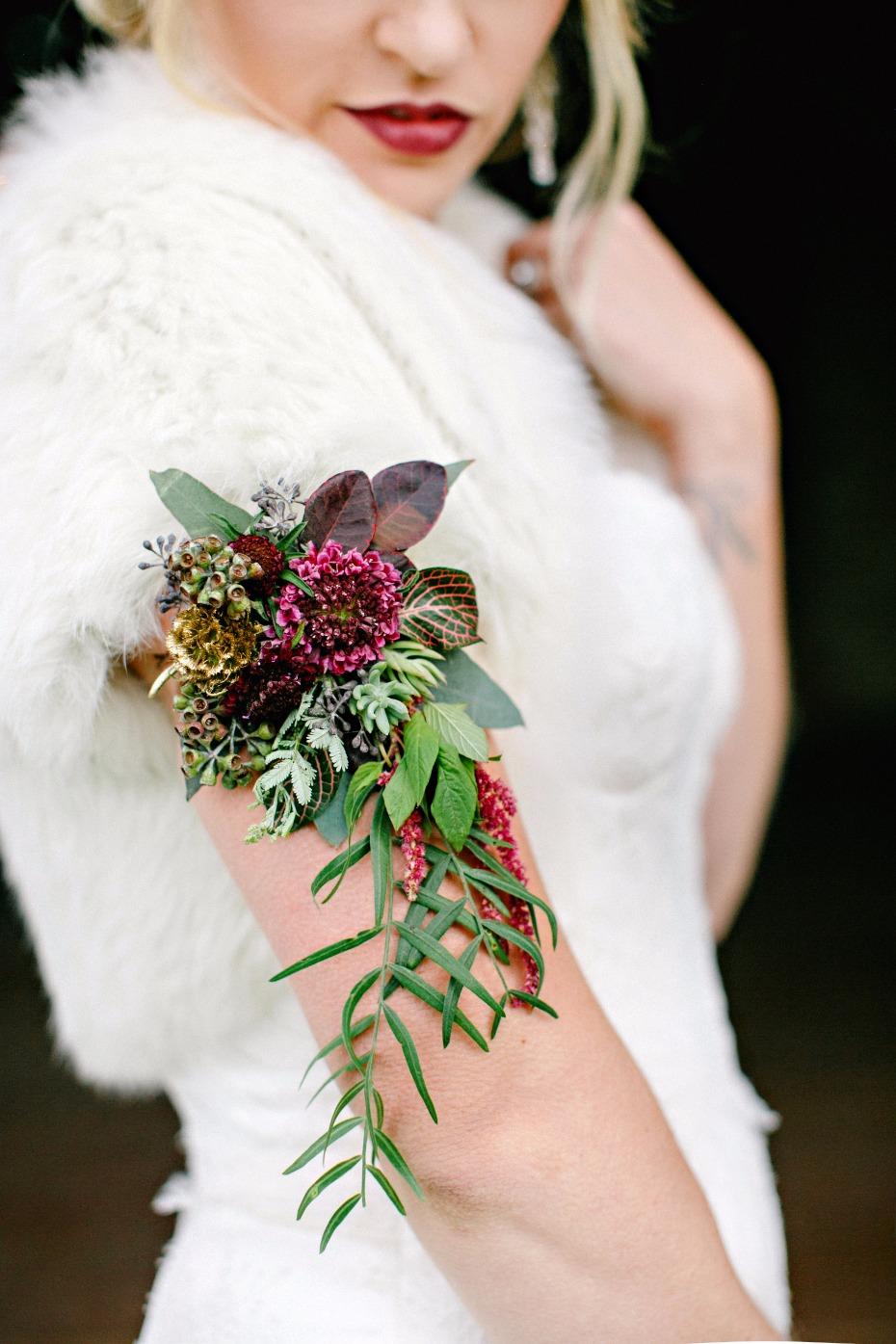 modern fall inspired wedding corsage