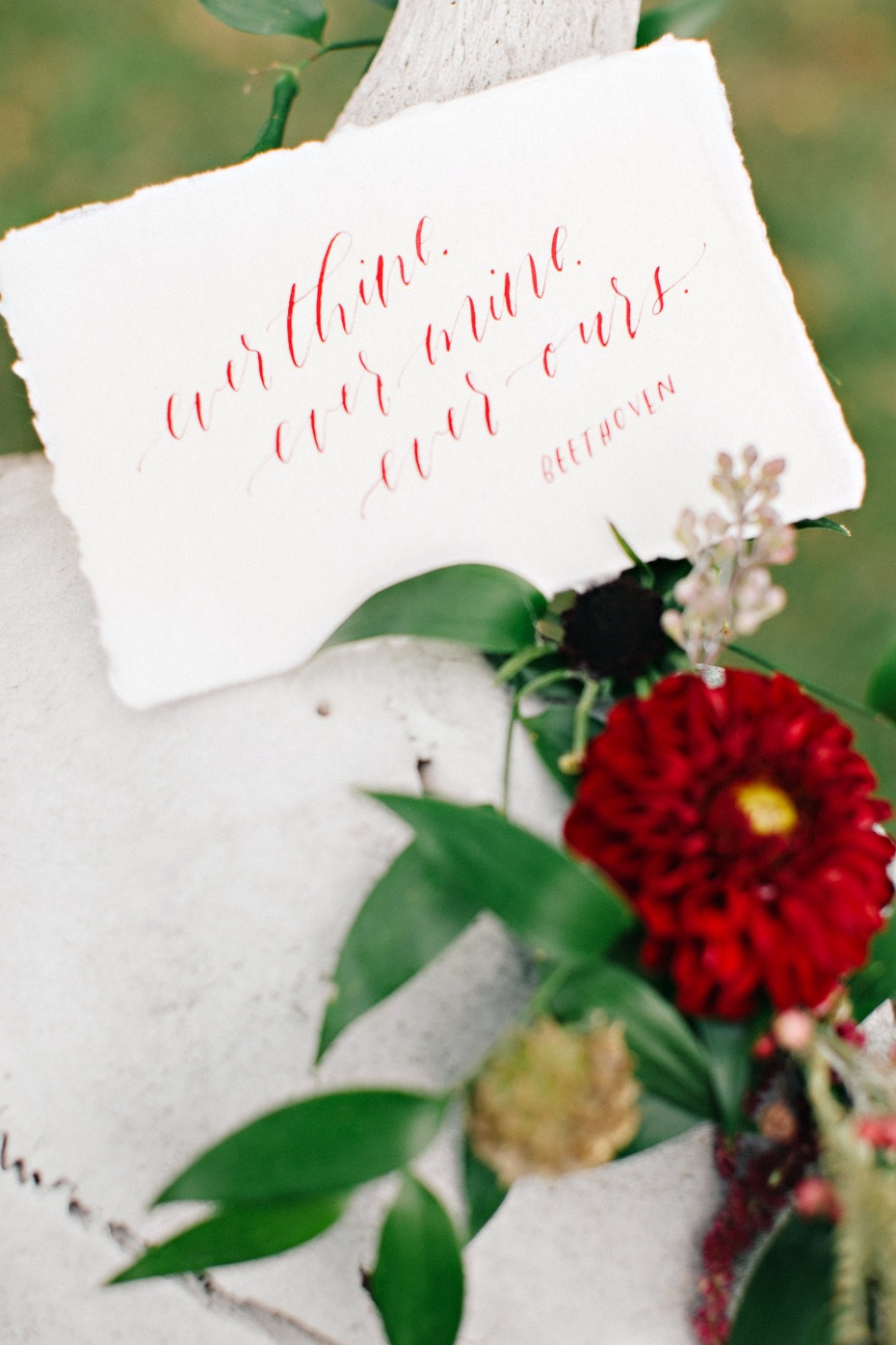 burgundy calligraphy for your wedding day