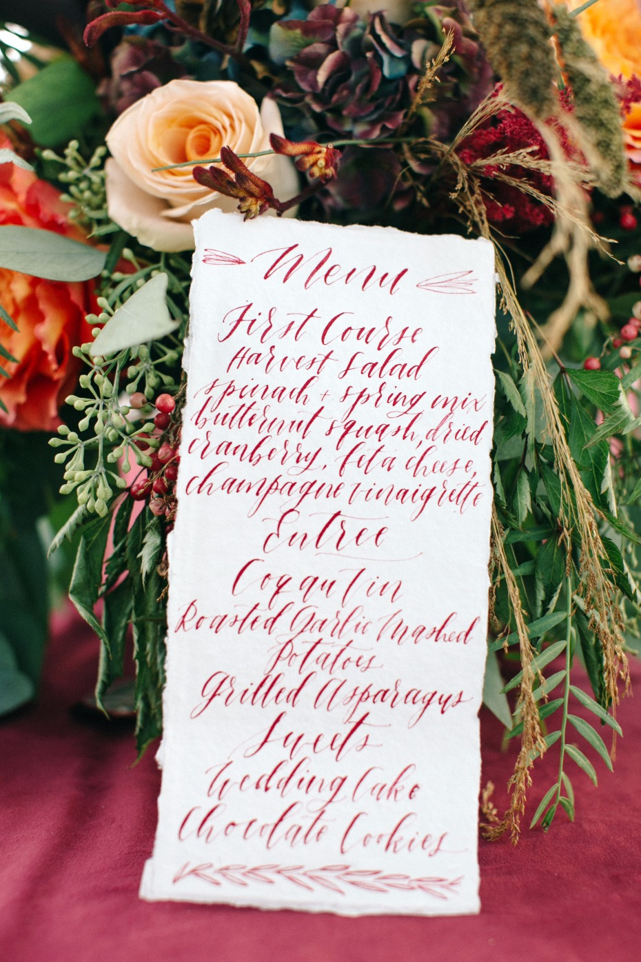 burgundy calligraphy wedding menu