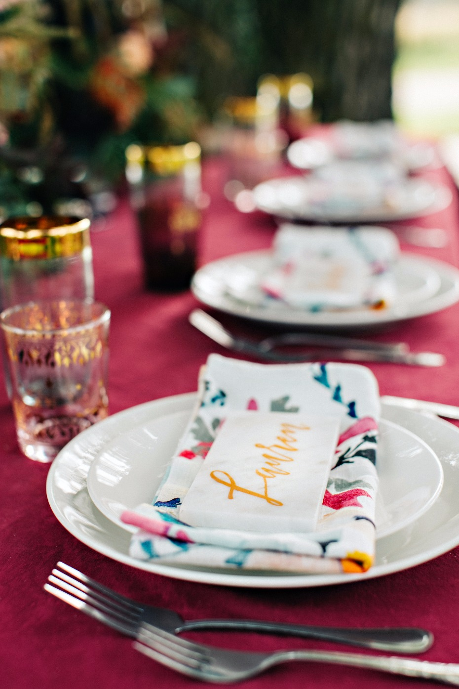 floral fall inspired modern wedding table decor