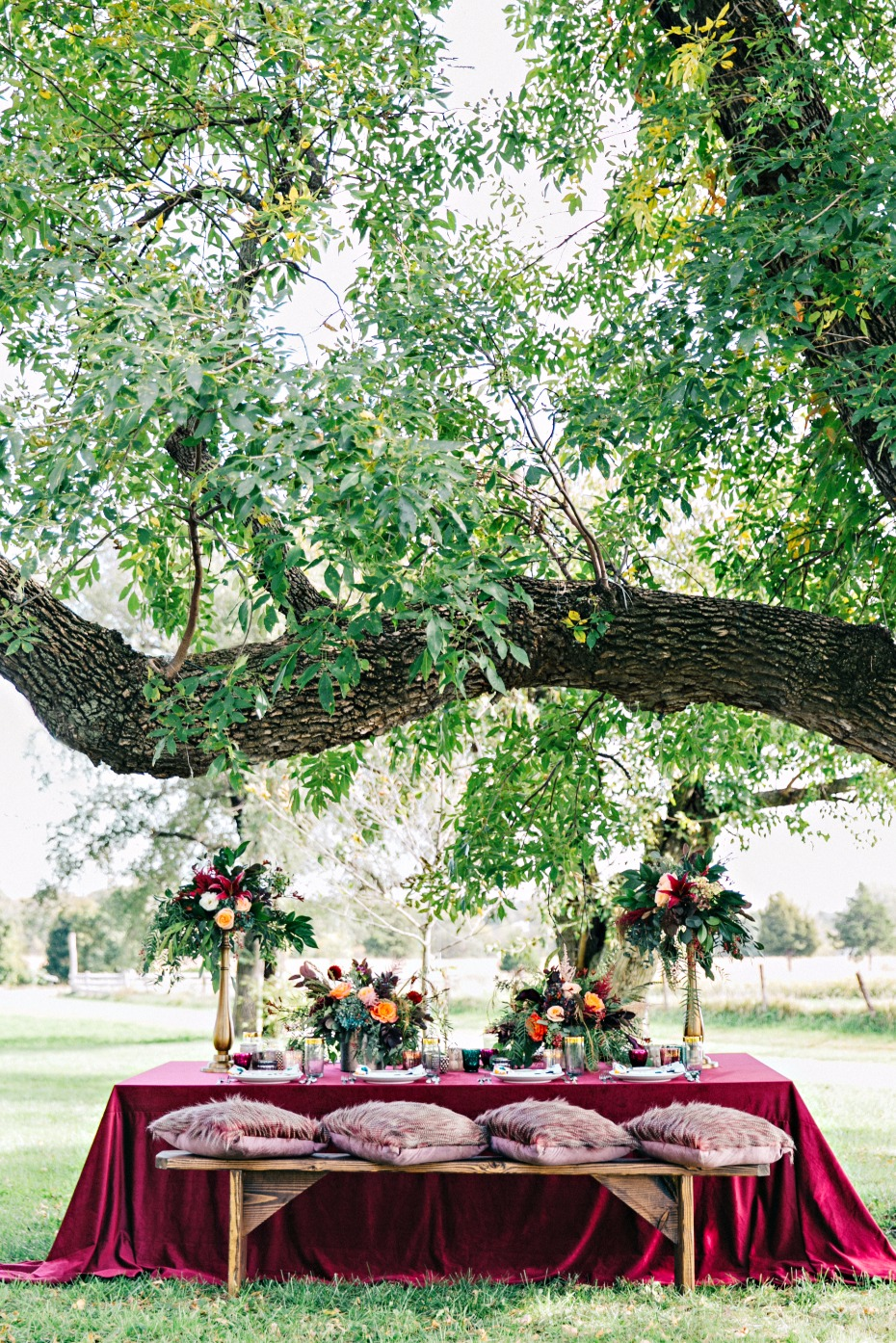 outdoor fall inspired wedding table