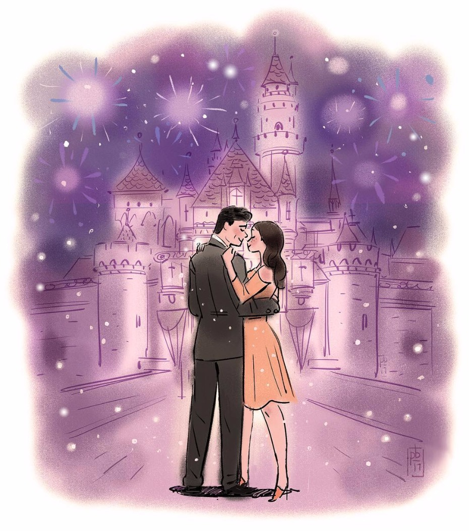 John Stamos Illustrated Instagram Post Announcing Engagement