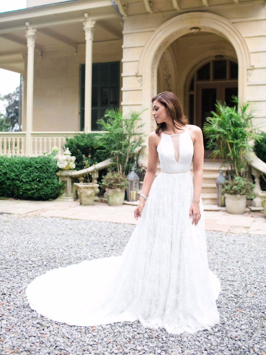 Gorgeous low V dress from Rebecca Schoneveld