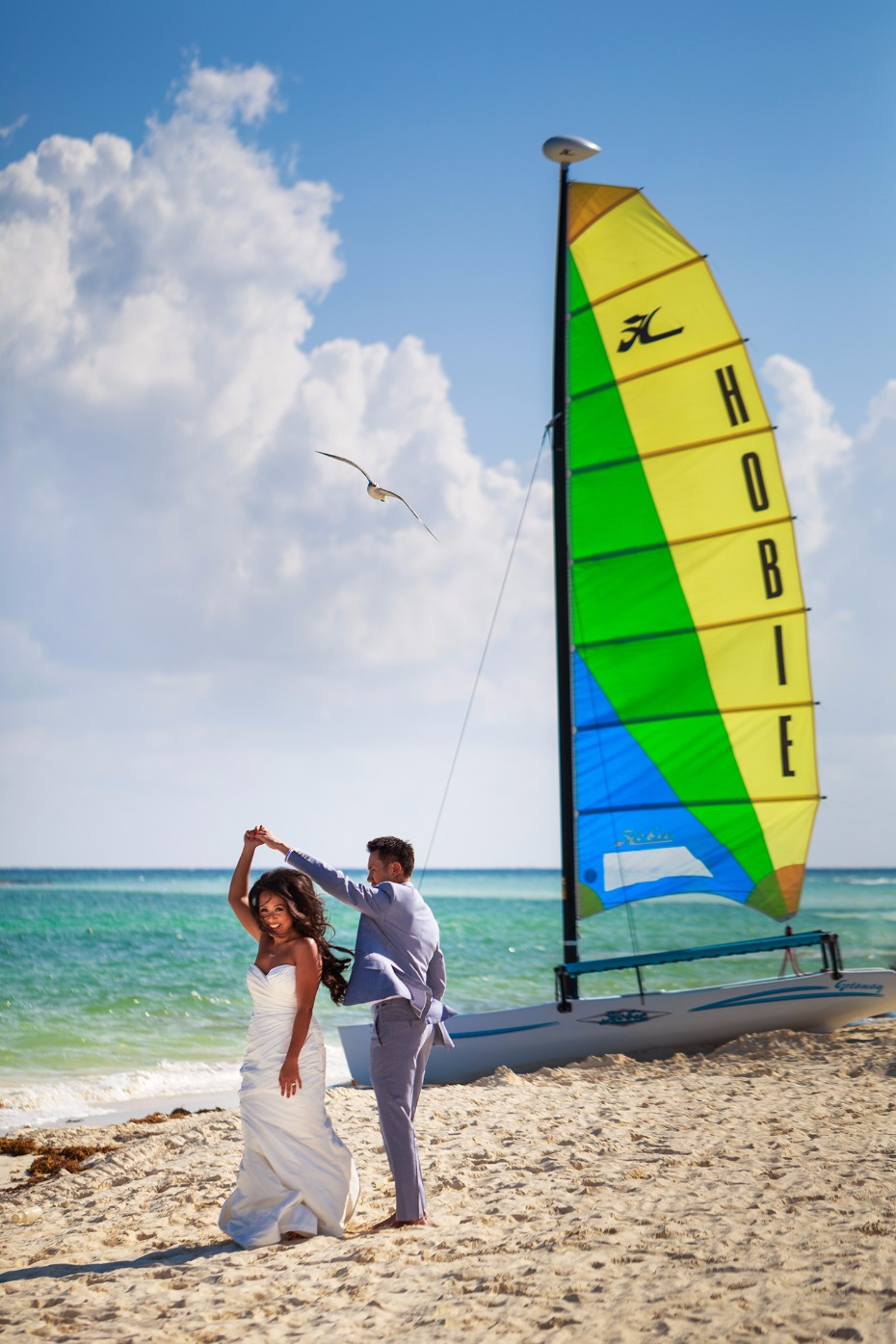 Colorful and fun beach wedding in Mexico