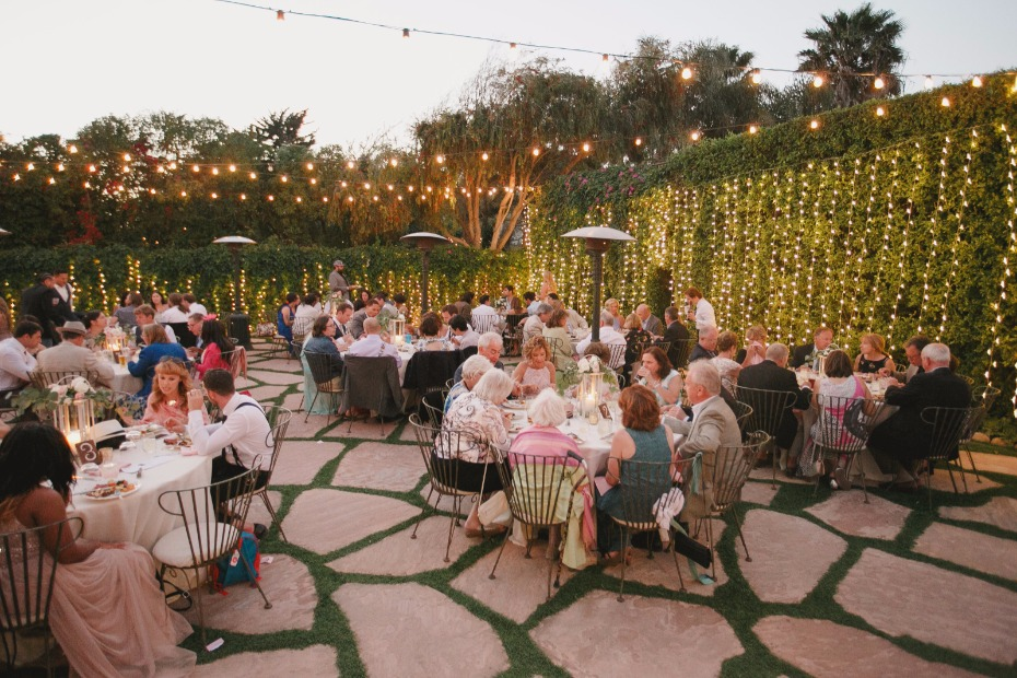 Glowing Lights At Your Garden Wedding Reception